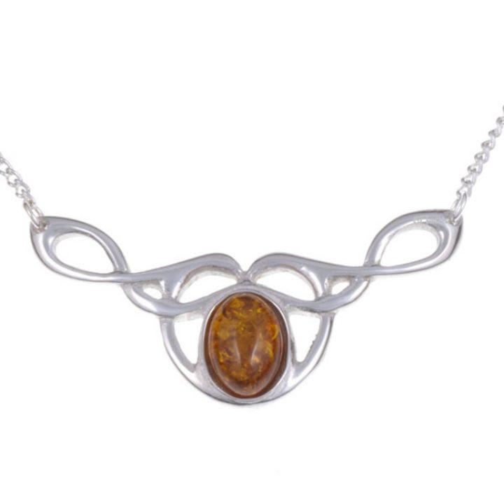 Bird knot hanger met amber steen SJPN-308A