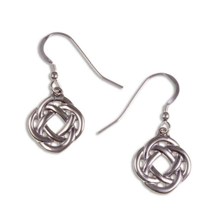 Square knot drop earrings silver SJ-JSE01