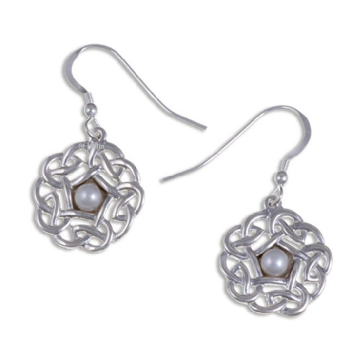 Pearl pentagon knot drop earrings silver SJ-JSE20