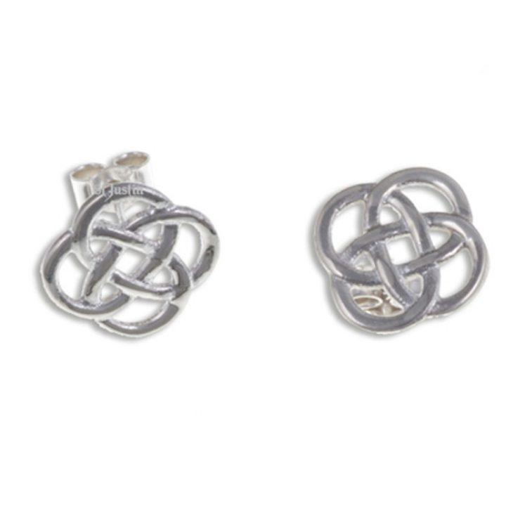 Four loop knot stud earrings silver SJ-JSE31