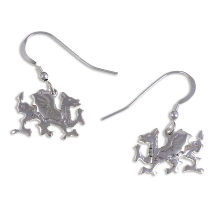 Welsh Dragon drop earrings silver SJ-SE927