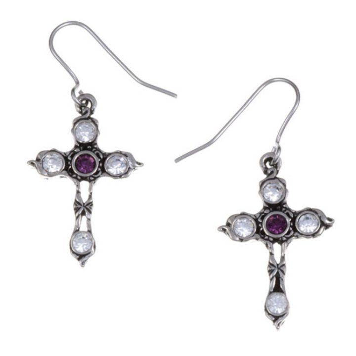 Crystal Cross earrings with Amethyst SJ-PE20AM
