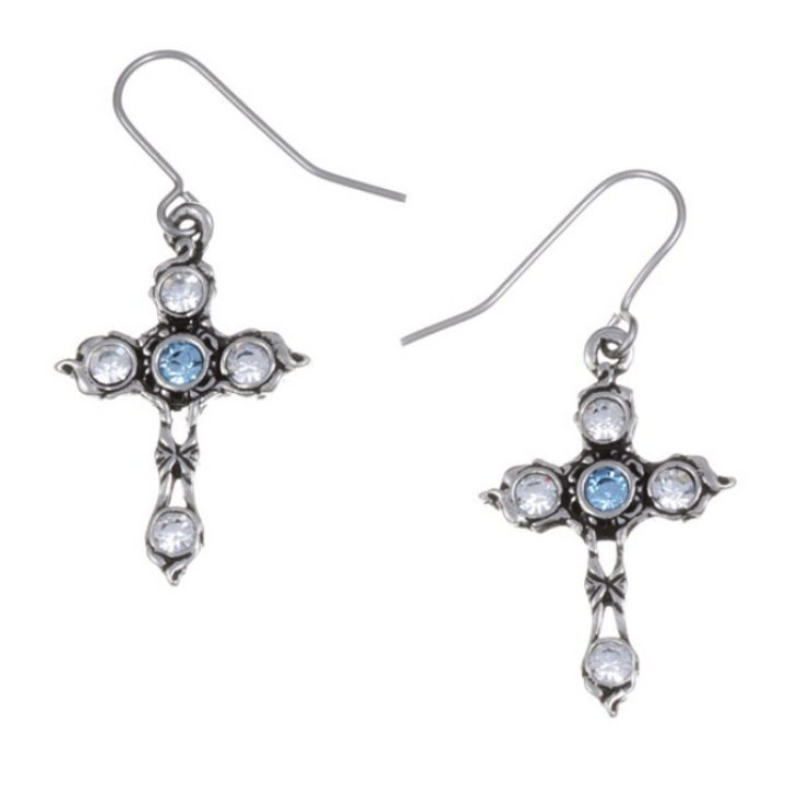 Crystal Cross earrings with Aqua Blue SJ-PE20AQ
