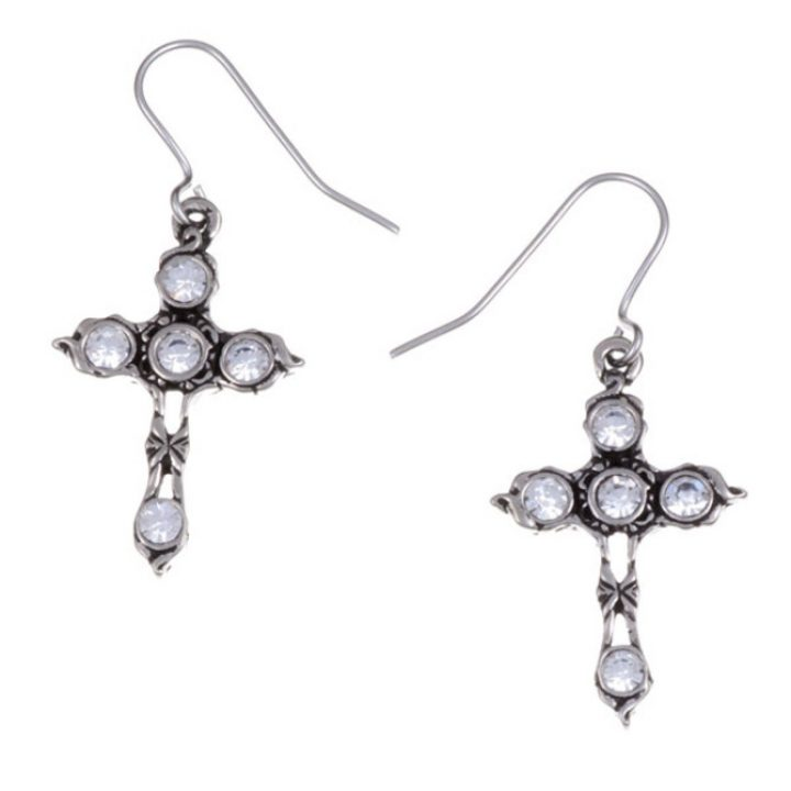 Crystal Cross earrings with Clear Crystal SJ-PE20CC