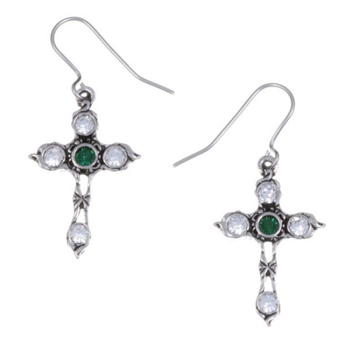 Crystal Cross earrings with Emerald Green SJ-PE20EG