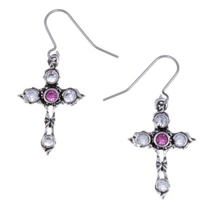Crystal Cross earrings with Rose Pink SJ-PE20RP