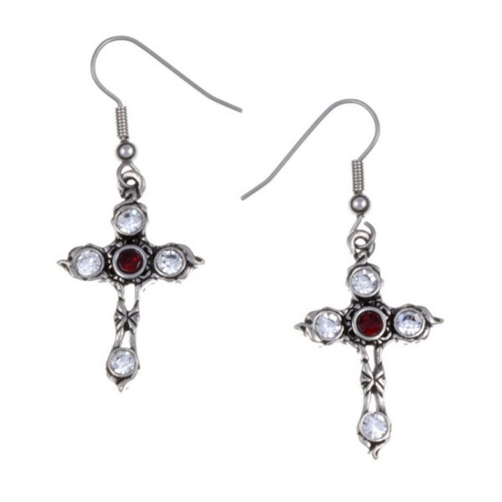 Crystal Cross earrings with Ruby Red SJ-PE20RY
