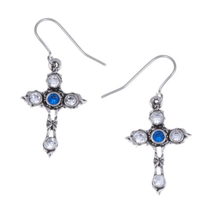 Crystal Cross earrings with Sapphire Blue SJ-PE20SB