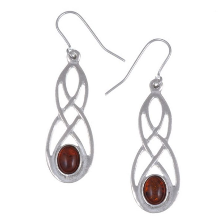 Celtic bow earrings with Amber SJ-PE45A