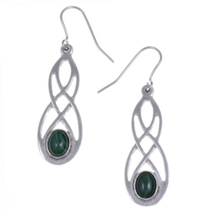 Celtic bow earrings with Malachite SJ-PE45M