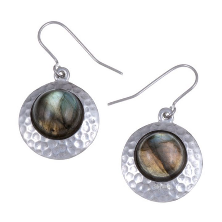 Labradorite offset disc drop earrings SJ-PE613