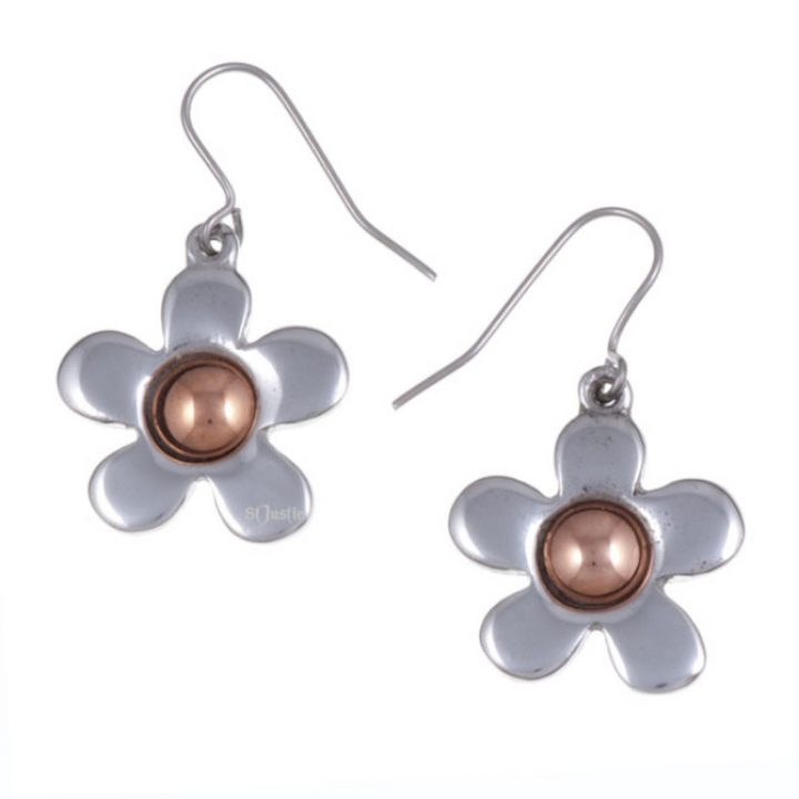 Copper centre flower drop earrings SJ-PE644