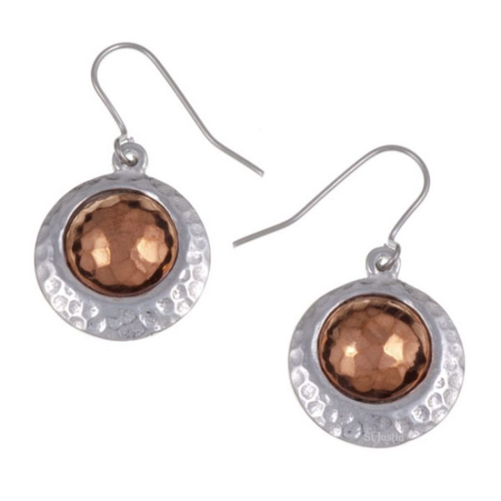 Copper offset disc drop earrings SJ-PE645
