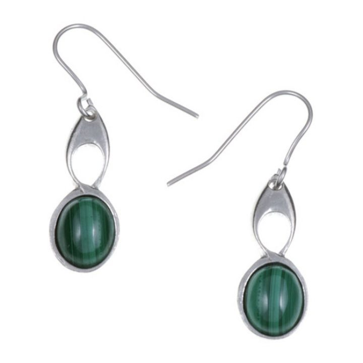 Bird Knot earrings with Malachite SJ-PE208M