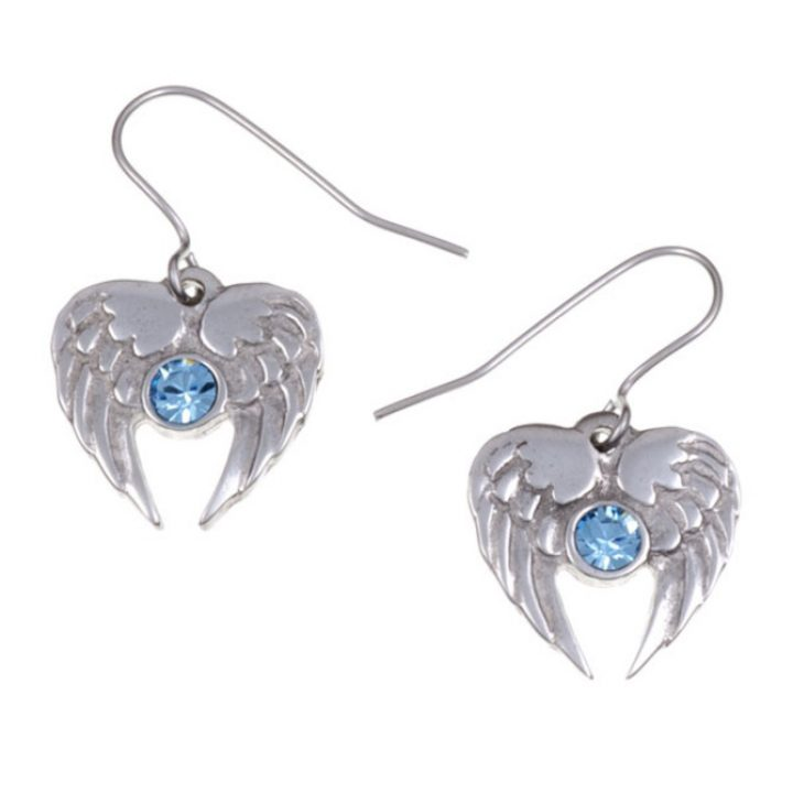 Angel Heart drop earrings with Aqua Blue SJ-PE736AQ