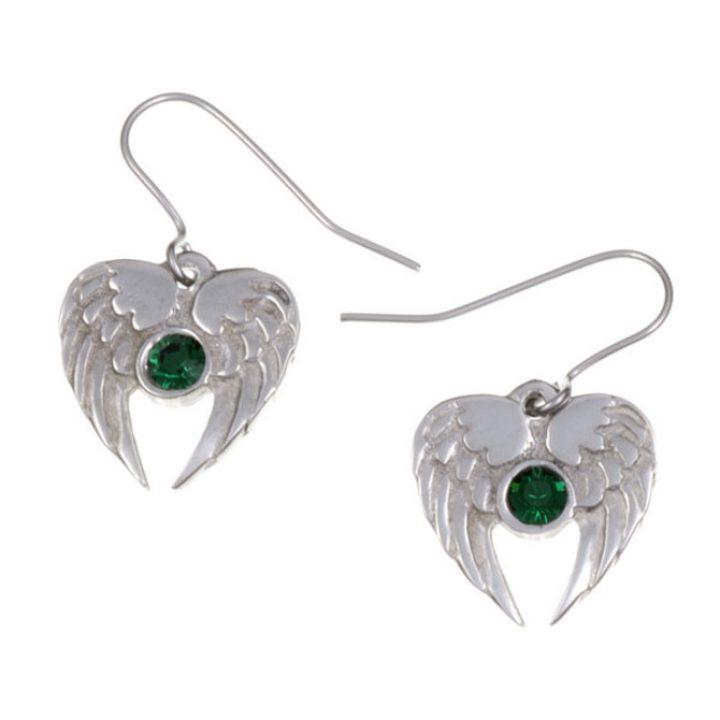 Angel Heart drop earrings, Emerald Green SJ-PE736EG