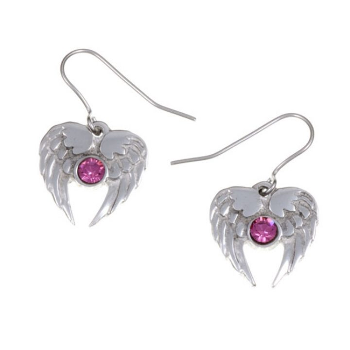 Angel Heart drop earrings with Rose Pink SJ-PE736RP