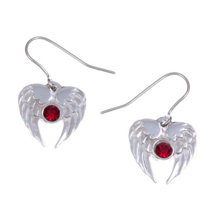 Angel Heart drop earrings with Ruby Red SJ-PE736RY