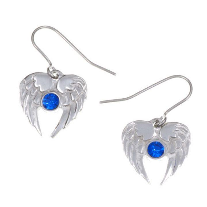 Angel Heart drop earrings with Sapphire blue SJ-PE736SB