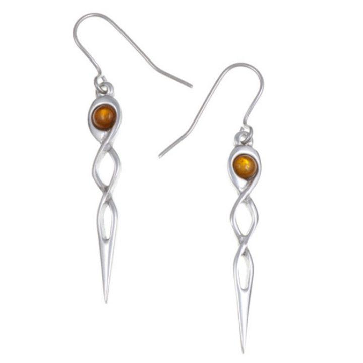 Twist knot drop earrings with Amber SJ-PE752A