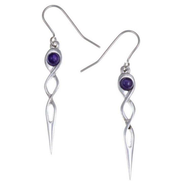 Twist knot drop earrings with Amethyst SJ-PE752P