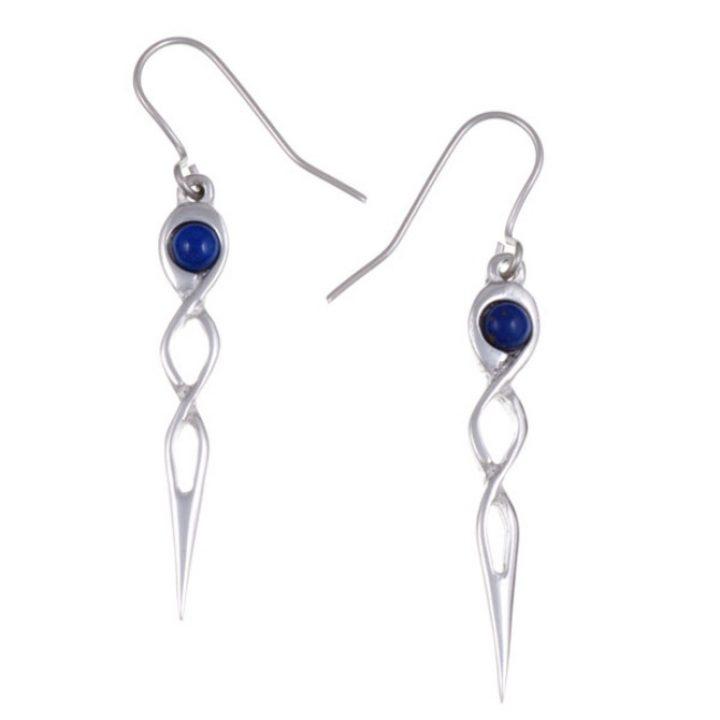 Twist knot drop earrings with Lapis SJ-PE752L