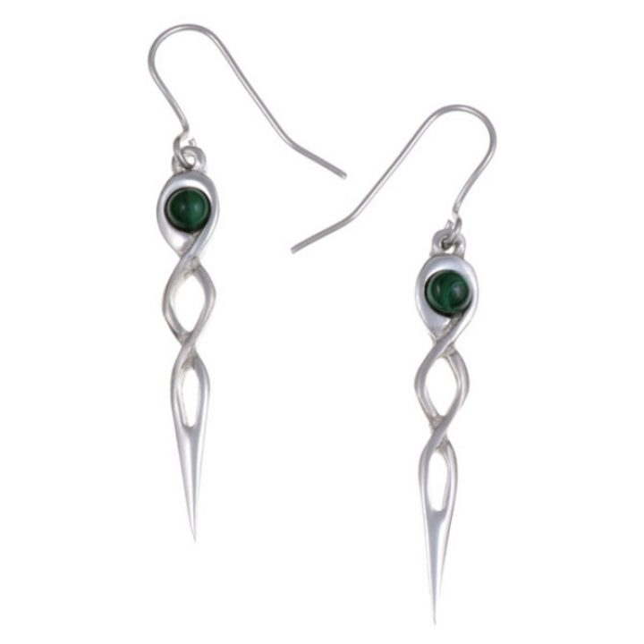 Twist knot drop earrings with Malachite SJ-PE752M