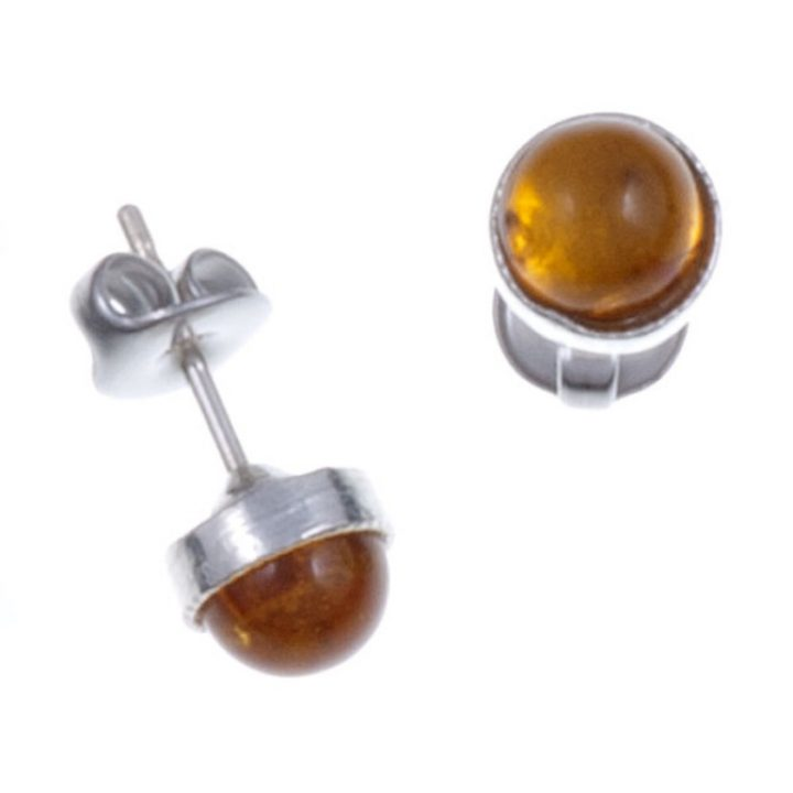 Gemstone stud earring with Amber SJ-PE796A