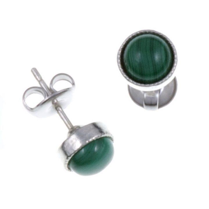 Gemstone stud earring with Malachite SJ-PE796M