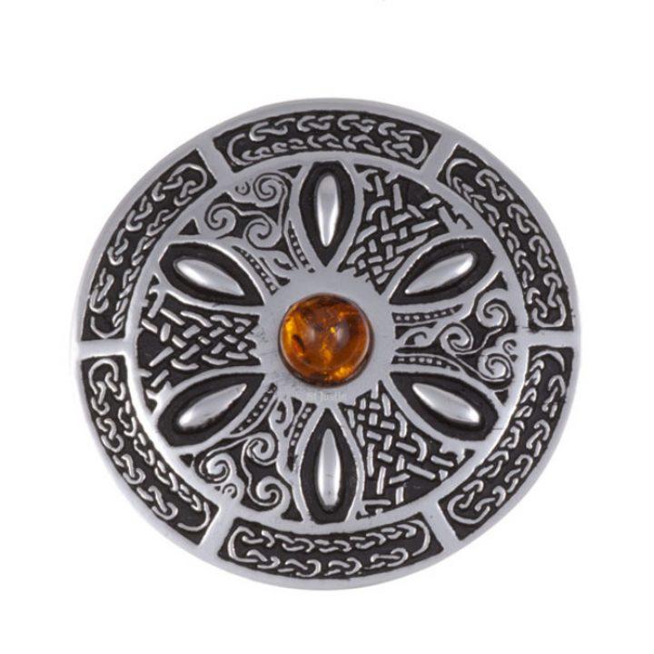 Celtic wheel brooch with amber SJ-PB55A