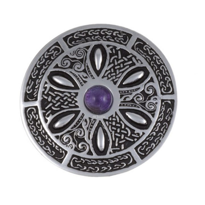 Celtic wheel brooch with amethyst SJ-PB55P