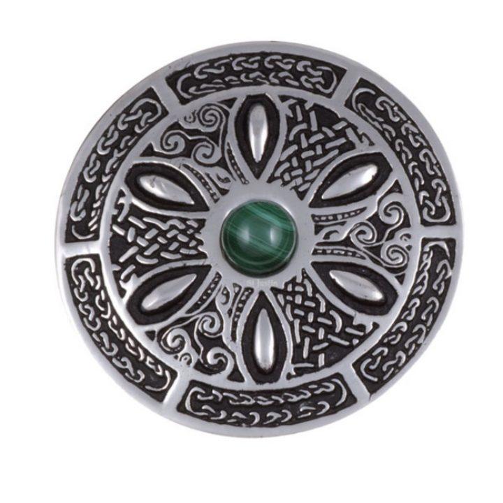 Celtic wheel brooch with malachite SJ-PB55M