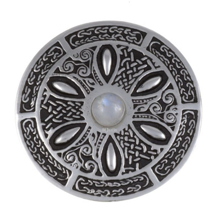 Celtic wheel brooch with moonstone SJ-PB55S