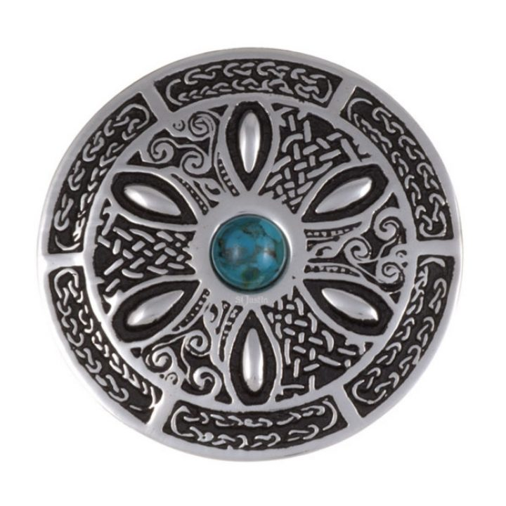 Celtic wheel brooch with turquoise SJ-PB55T