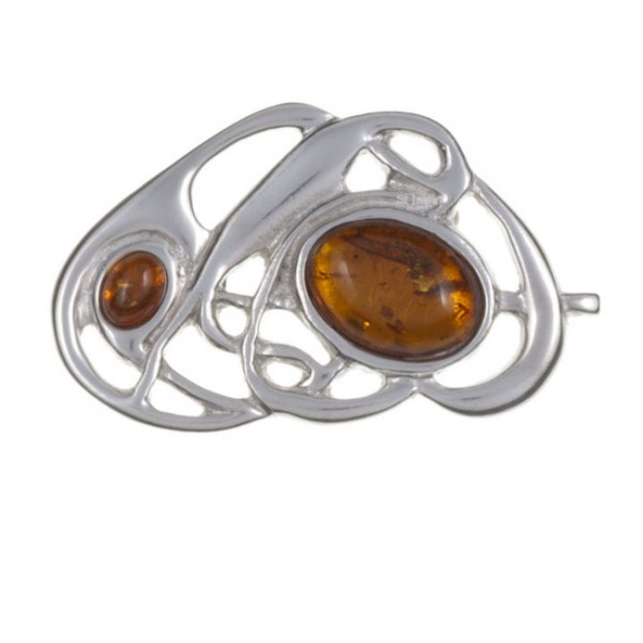 Celtic nouveau brooch with amber SJ-PB58A