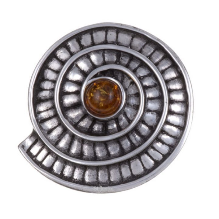 Ammonite spiral brooch with amber SJ-PB70A