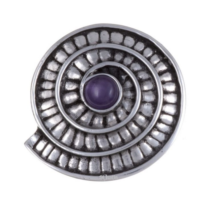 Ammonite spiral brooch with amethyst SJ-PB70P