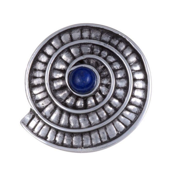 Ammonite spiral brooch with lapis SJ-PB70L
