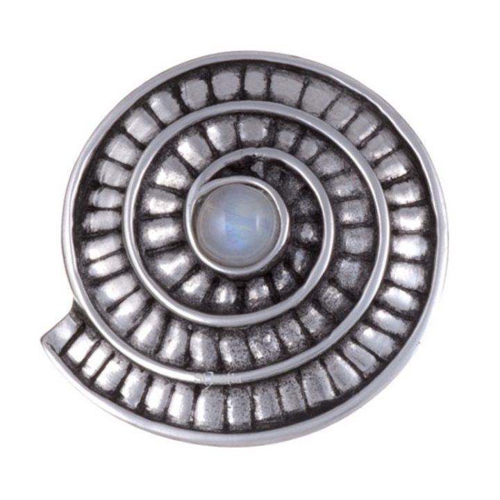 Ammonite spiral brooch with moonstone SJ-PB70S