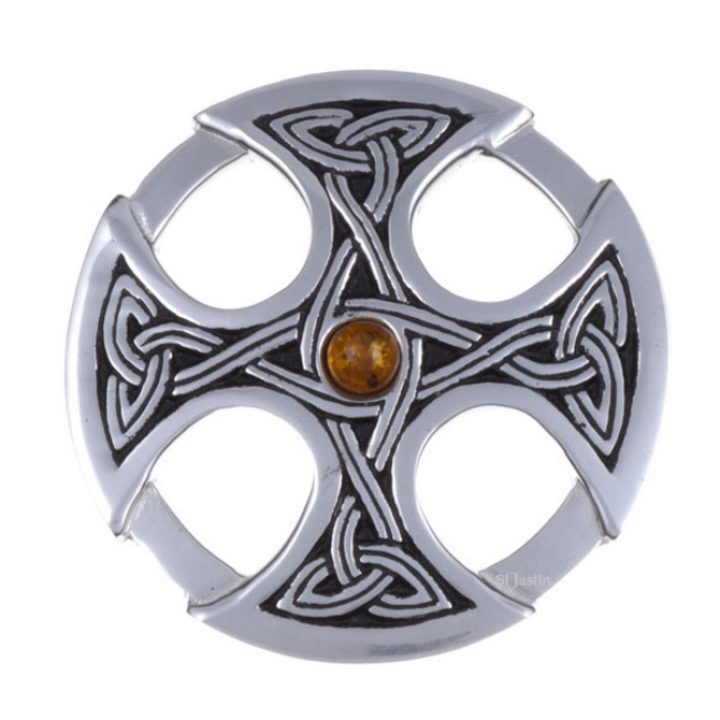 Nevern brooch with amber SJ-PB84A