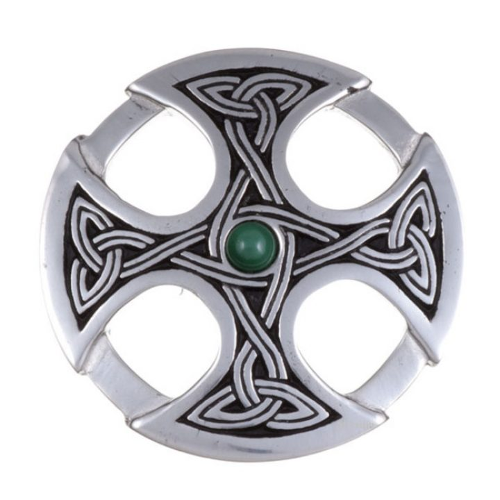 Nevern brooch with malachite SJ-PB84M