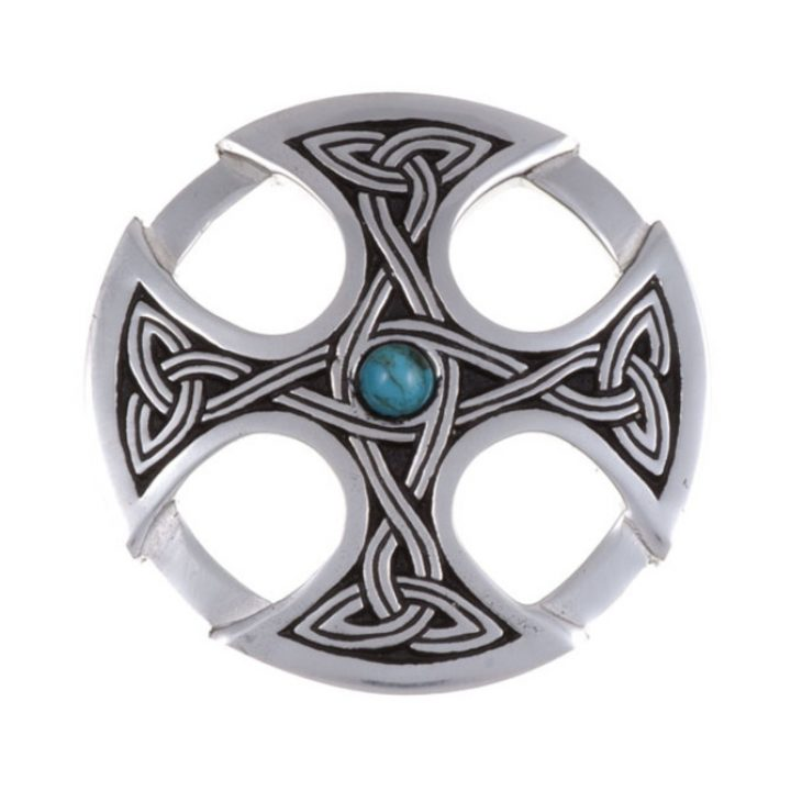 Nevern brooch with turquoise SJ-PB84T
