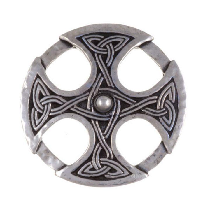 Nevern celtic cross brooch - beaten SJ-PB161