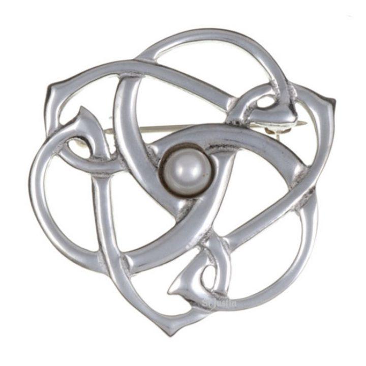 Pearl triscele swirl brooch SJ-PB384