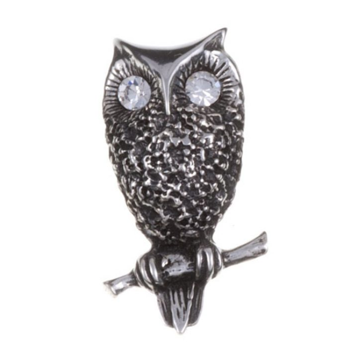 Owl brooch with clear crystal eyes SJ-PB779CC
