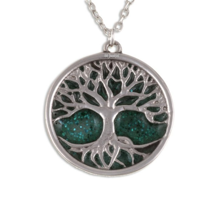 Tree of Life with green glitter anamel SJ-PN843