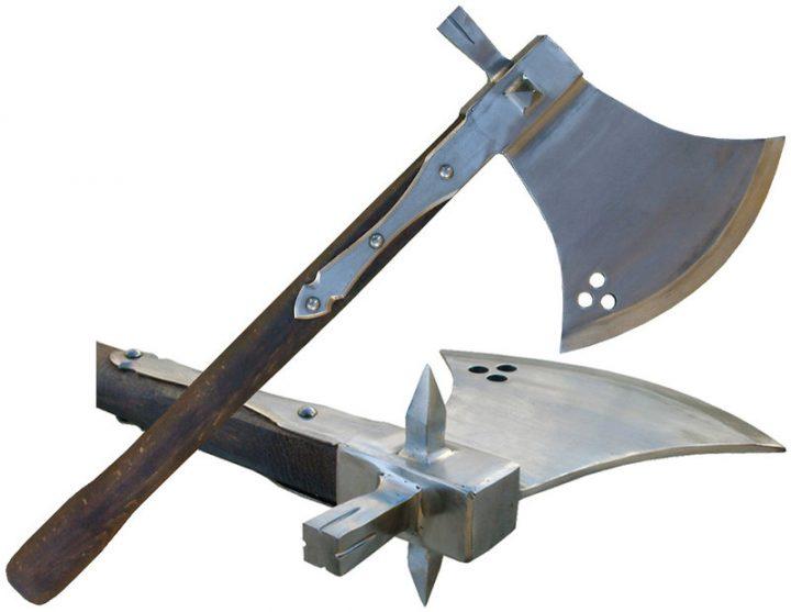 Mittelalter Schlachtaxt mit Hammer, 16.Jh. hvpef-0196