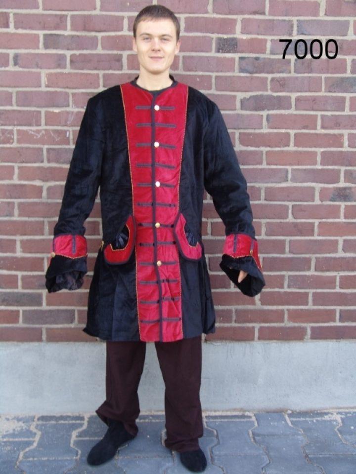 Middeleeuwse Heren Jas Zwart/Rood