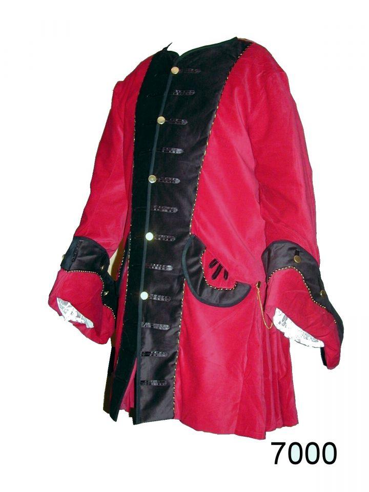 Middeleeuwse Heren Jas Rood/Zwart