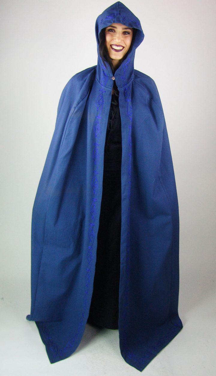 Mittelalter Umhang in Blau zum Binden an Vorderseite